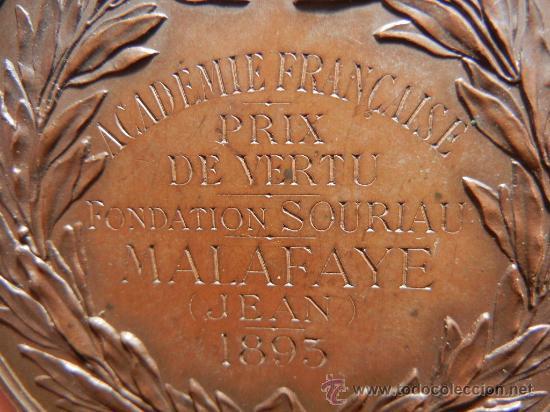 Trofeos y medallas: Medalla Francesa. Premio de la Academia Francesa. 1893. - Foto 5 - 33209083