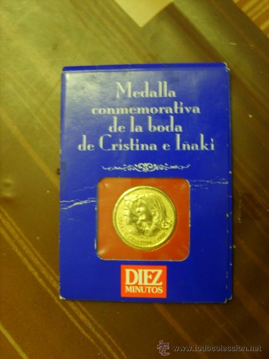 MEDALLA CONMEMORATIVA DE LA BODA DE CRISTINA E IÑAKI URDANGARIN (10 MINUTOS) (Numismática - Medallería - Trofeos y Conmemorativas)