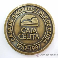 Trofeos y medallas: MEDALLA CONMEMORATIVA 50 ANIVERSARIO CAJA DE AHORROS Y MONTE PIEDAD CEUTA - 1937 - 1987 - 6 CM DIAME. Lote 36655882