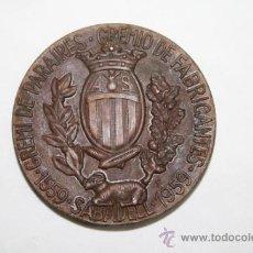 Trofeos y medallas: M-023. MEDALLA EN BRONCE DEL 400 ANIVERSARIO DEL GREMI DE PARAIRES. SABADELL. 1959. Lote 37232657