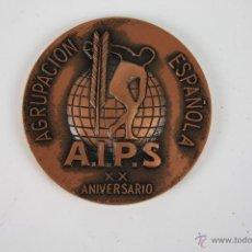 Trofeos y medallas: M-087. MEDALLA EN BRONCE AGRUPACION AIPS ESPAÑOLAXX ANIVERSARIO. ASAMBLEA NACIONAL 1977.. Lote 39951927