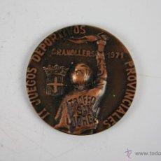 Trofeos y medallas: M-166. MEDALLA EN BRONCE. II JUEGOS DEPORTIVOS PROVINCIALES GRANOLLERS 1974. TROFEO SANT JORGE.. Lote 40028885