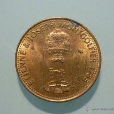 Trofeos y medallas: MONEDA SHELL GRANDES INVENTOS ETIENNE & JOSEPH MONTGOLFIER 1783. Lote 41968573