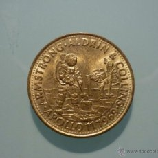 Trofeos y medallas: MONEDA SHELL GRANDES INVENTOS ARMSTRONG- ALDRIN & COLLINS. APOLLO 11 1969. Lote 159805913