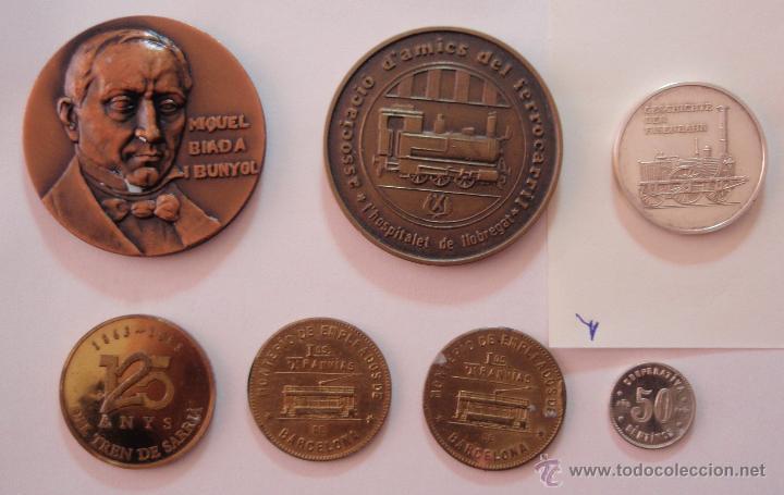 7 MEDALLAS DIFERENTES DE TRENES Y TRANVÍAS DE BARCELONA (Numismática - Medallería - Trofeos y Conmemorativas)