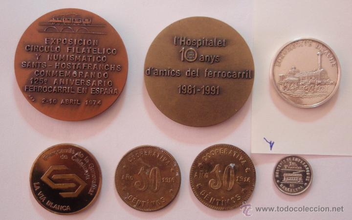 Trofeos y medallas: 7 MEDALLAS DIFERENTES DE TRENES Y TRANVÍAS DE BARCELONA - Foto 2 - 42983065