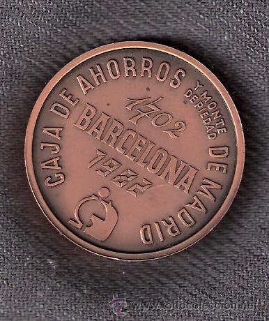 Trofeos y medallas: Caja de Ahorros y Monte de Piedad de Madrid. Barcelona 1702 -1982. Cajamadrid. Medalla. - Foto 2 - 43052442