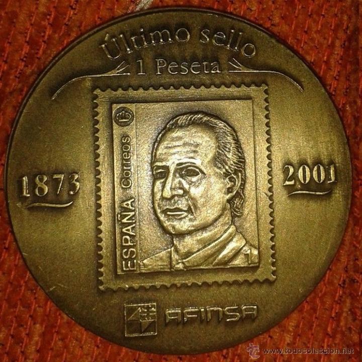 MEDALLON BRONCE MACIZO JUAN CARLOS I CONMEMORATIVA PRIMER 1873 Y ULTIMO SELLO 2001 1PESETA FILATELIA (Numismática - Medallería - Trofeos y Conmemorativas)