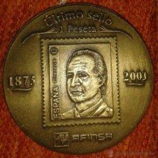Trofeos y medallas: MEDALLON BRONCE MACIZO JUAN CARLOS I CONMEMORATIVA PRIMER 1873 Y ULTIMO SELLO 2001 1PESETA FILATELIA. Lote 43307460