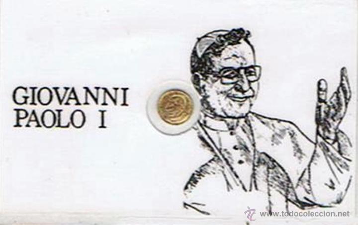CARNET DE GIOVANNI PAOLO I CON PEQUEÑA MONEDA CONMEMORATIVA (PLASTIFICADO) (Numismática - Medallería - Trofeos y Conmemorativas)