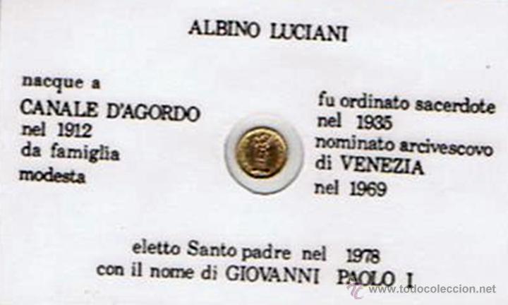 Trofeos y medallas: CARNET DE GIOVANNI PAOLO I CON PEQUEÑA MONEDA CONMEMORATIVA (PLASTIFICADO) - Foto 2 - 43960325