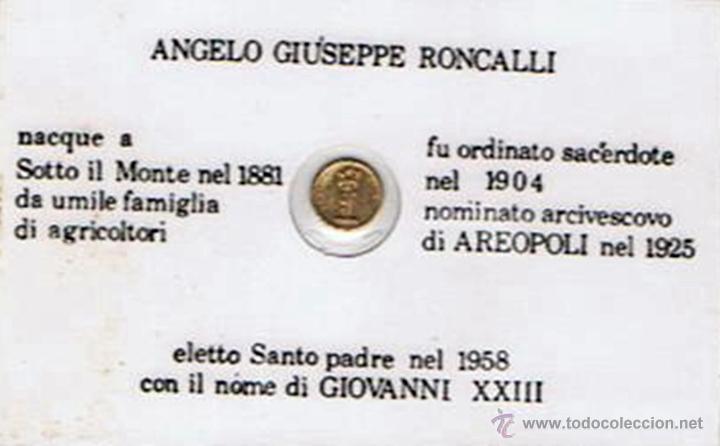 Trofeos y medallas: CARNET DE GIOVANNI XXIII CON PEQUEÑA MONEDA CONMEMORATIVA (PLASTIFICADO) - Foto 2 - 43960403