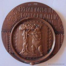Trofeos y medallas: MEDALLA EXPOSICIÓN MUNDIAL DE FILATELIA 1975 ESPAÑA 76 MM COBRE. Lote 46146544