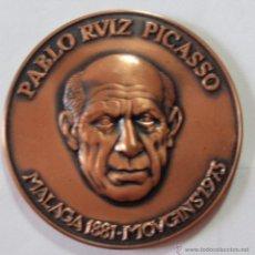 Trofeos y medallas: MEDALLA PABLO RVIZ PICASSO MALAGA 1881 MOVGINS 1973 COBRE 50MM. Lote 46182129