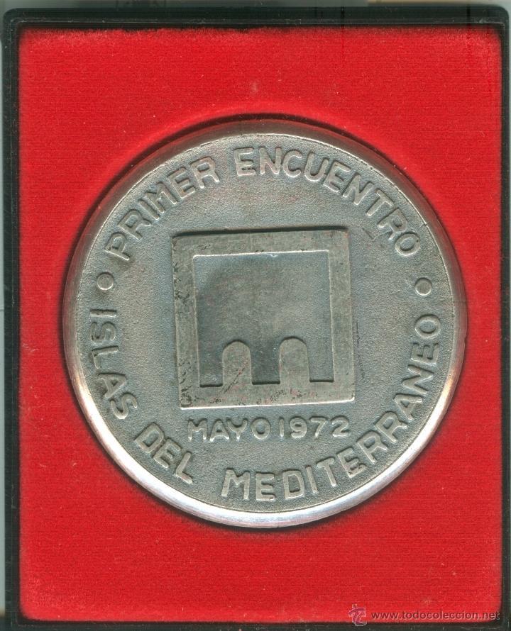 MEDALLA/PISAPAPELES CONMEMORATIVO 1ER ENCUENTRO ISLAS DEL MEDITERRÁNEO 1972 (MENORCA) (Numismática - Medallería - Trofeos y Conmemorativas)