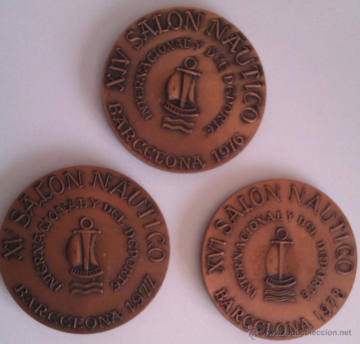 GRAN LOTE MEDALLAS SALON NAUTICO INTERNACIONAL Y DEL DEPORTE BARCELONA 1976, 1977 Y 1978 COBRE (Numismática - Medallería - Trofeos y Conmemorativas)