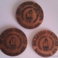 Trofeos y medallas: GRAN LOTE MEDALLAS SALON NAUTICO INTERNACIONAL Y DEL DEPORTE BARCELONA 1976, 1977 Y 1978 COBRE . Lote 46869385
