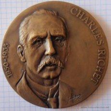 Trofeos y medallas: MEDALLA CHARLES RICHET 1850-1935 PREMIO NOVEL DE LA MEDICINA 1913 ANAFILAXIA DEFENSA ESPÉCIES 80MM. Lote 48180037