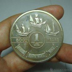 Trofeos y medallas: ONZA DE PLATA ( 999 MILÉSIMAS ) 500 AÑOS DESCUBRIMIENTO DE AMÉRICA 1492-1992. Lote 48423195