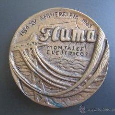 Trofeos y medallas: MEDALLA FLUMA. MONTAJES ELÉCTRICOS. 1950, XV ANIVERSARIO. DIÁMETRO 90 MM. Lote 48534030