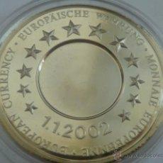 Trofeos y medallas: MEDALLA CONMEMORATIVA EUROPEA DE LA PUESTA EN CIRCULACION DEL EURO EL 01/01/2002. Lote 48691612