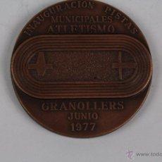 Trofeos y medallas: M-265. MEDALLA EN BRONCE INAUGURACION PISTAS MUNICIPALES ATLETISMO. GRANOLLERS JUNIO 1977.. Lote 48913503