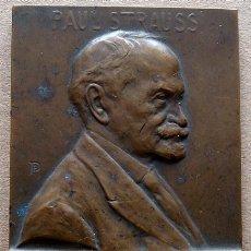 Trofeos y medallas: PLACA CONMEMORATIVA EN BRONCE PAUL STRAUSS 1924 . Lote 49139777