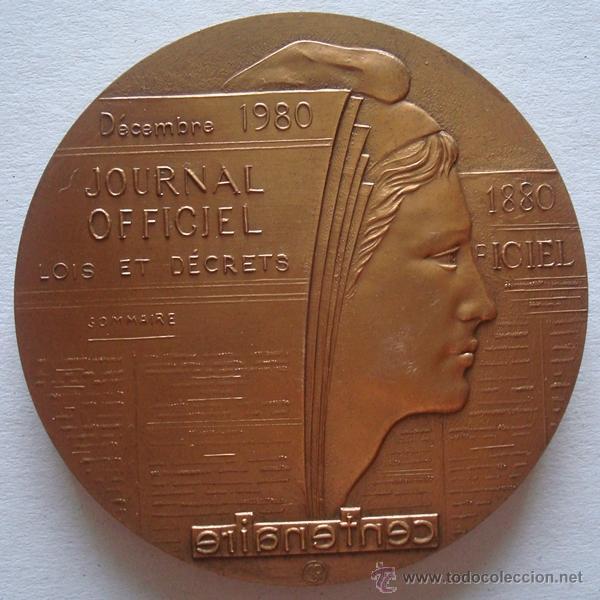 MEDALLA CONMEMORATIVA DEL CENTENARIO DEL JOURNAL OFFICIEL DECEMBRE 1880 - 1980 (Numismática - Medallería - Trofeos y Conmemorativas)