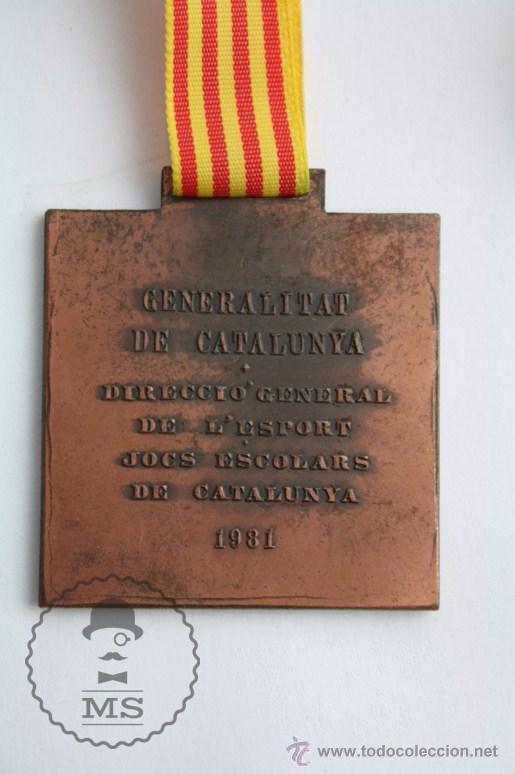 Trofeos y medallas: Medalla Generalitat de Catalunya. Direcció General de l'Esport. Jocs Escolars de Catalunya, 1981 - Foto 3 - 51434083