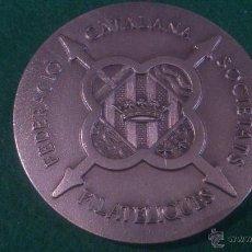 Trofeos y medallas: MEDALLA 25È ANIVERSARI 1971-1996, FEDERACIO CATALANA SOCIETATS FILATELIQUES. Lote 118368696