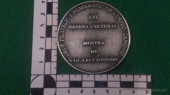 Trofeos y medallas: MEDALLA XVI DESENA CULTURAL, GRUP FILATELIC I NUMISMATIC DE LORFEÓ CANONGÍ, LA CANONJA 1998 - Foto 3 - 52348240