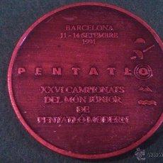 Trofeos y medallas: MEDALLA XXVI CAMPIONATS DEL MÓN JÚNIOR DE PENTATLÓ MODERN, BARCELONA 1991. Lote 52348608