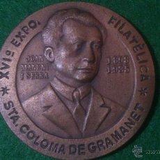 Trofeos y medallas: MEDALLA XVI EXPOSICIO FILATELICA, 1980, SANTA COLOMA DE GRAMANET, HOMENATJE AL MESTRE MANENT. Lote 52362575