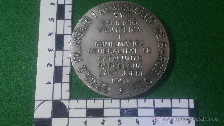 Trofeos y medallas: MEDALLA XVIII EXHIBICIÓ FILATELICA I NUMISTATICA, SANT JORDI, 1991 PLATA - Foto 3 - 52505384