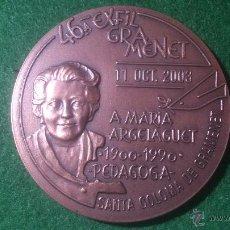 Trofeos y medallas: MEDALLA 46ª EXFILGRAMENET 2003 , A MARIA ARGELAGUET, PEDAGOGA, 1900-1990.. Lote 52588455