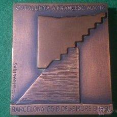 Trofeos y medallas: MEDALLA, LINGOTE DE SUBIRACHS, CATALUNYA A FRANCESC MACIÀ 1991, DE COBRE.. Lote 52601628