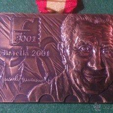 Trofeos y medallas: MEDALLA JOAN ANTONI SAMARANCH, PRESIDENT DEL COMITE INTERNACIONAL OLIMPIC, FILATELIA 2001.. Lote 52602532