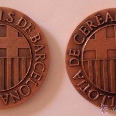 Trofeos y medallas: 2 MEDALLAS BOLSA EUROPEA DE COMERCIO 1984. BARCELONA. 60MM. COBRE. ERROR ACUÑACIÓN EN UNA DE ELLAS. Lote 52811703