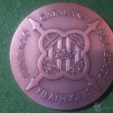 Trofeos y medallas: MEDALLA FEDERACIO CATALANA SOCIETATS FILATELIQUES, PLATA DE LEY.. Lote 53049002