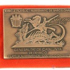 Trofeos y medallas: M-262 - MEDALLA EN COBRE SANT JORDI. FILATÉLIC I NUMISMATIC DE BARCELONA. PUJOL. 2001.. Lote 52650981