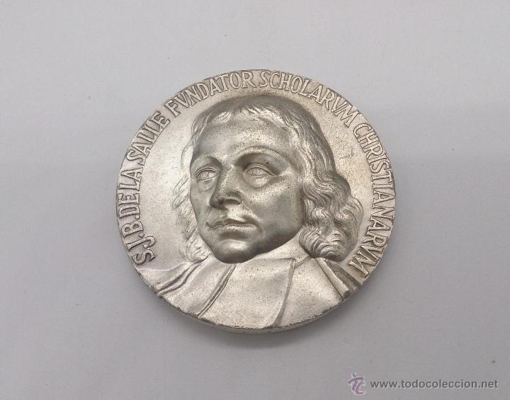 Trofeos y medallas: Moneda conmemorativas de Juan Bautista de Lasalle fundador de la congregación de Escuelas Cristianas - Foto 2 - 54857399