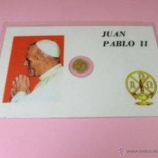 Trofeos y medallas: *TARJETA CONMEMORATIVA-JUAN PABLO II-MONEDA INCORPORADA-NUEVA-COLECCIONISMO-VER FOTOS.. Lote 55028261
