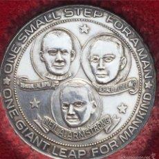 Trofeos y medallas: MONEDA PLATA CONMEMORATIVA MISIÓN APOLO 11 ARMSTRONG 1969. Lote 58373604