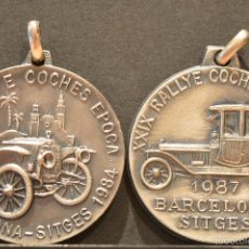 Trofeos y medallas: LOTE 2 MEDALLAS BARCELONA SITGES RALLYE COCHES DE EPOCA MEDALLA 1984 Y 1987. Lote 58789736