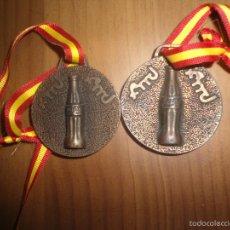 Trofeos y medallas: LOTE DOS MEDALLAS FUNDANCION MUNICIPAL DEPORTES BADAJOZ - PUBLICIDAD COCA COLA COCACOLA. Lote 60617043