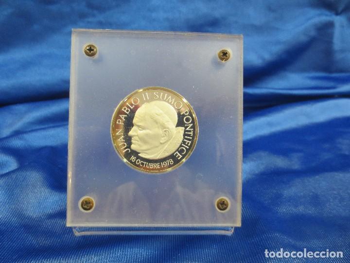 MONEDA CONMEMORATIVA DE JUAN PABLO II 16 DE OCTUBRE 1978 PLATA PURA (Numismática - Medallería - Trofeos y Conmemorativas)