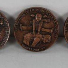 Trofeos y medallas: M-316. COLECCION DE 5 MEDALLAS EN BRONCE DEL SALON INTERNACIONAL DE LA JUVENTUD. EN ESTUCHE. Lote 44338126