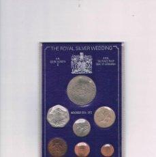 Trofeos y medallas: MONEDAS CONMEMORATIVAS 25 ANIVERSARIO BODA REAL ISABEL II FELIPE EDIMBURGO GRAN BRETAÑA 1947 - 1972. Lote 66862206