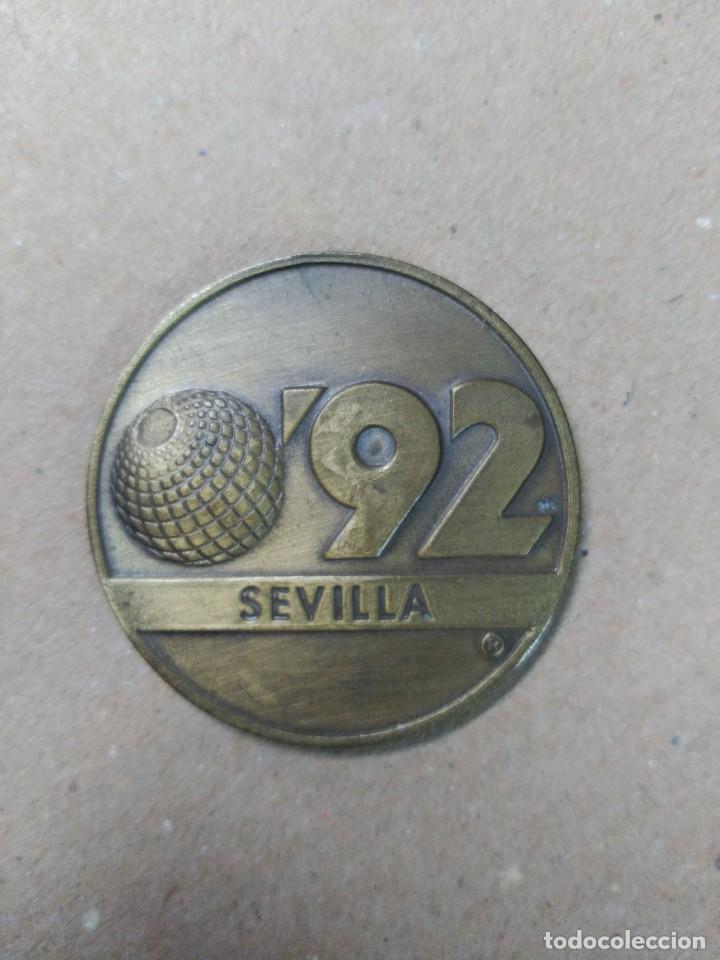 MEDALLA EN BRONCE SEVILLA 92, LA CARTUJA (Numismática - Medallería - Trofeos y Conmemorativas)