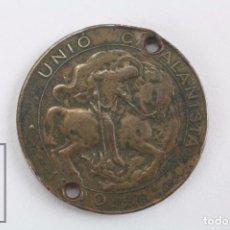 Trofeos y medallas: MONEDA DE COBRE - UNIÓ CATALANISTA - AÑO 1900 - SAN JORGE / JORDI - DIÁMETRO 24 MM. Lote 72729159